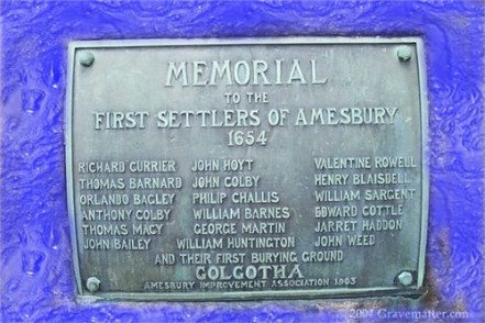 Memorial to the First Settlers Amesbury-1654 Golgotha i