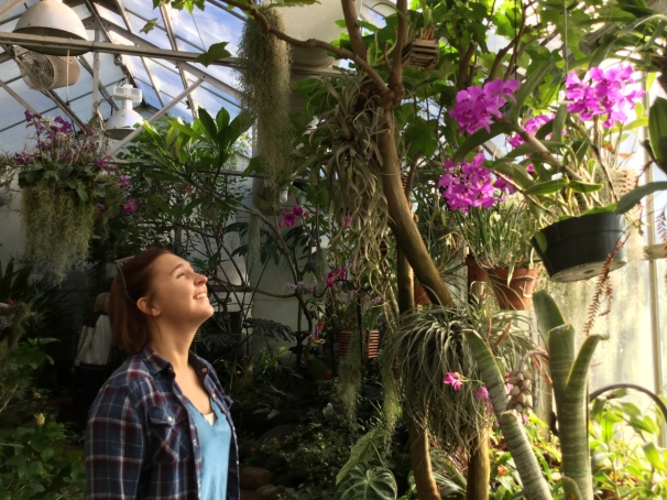 Haley in the greenhouse