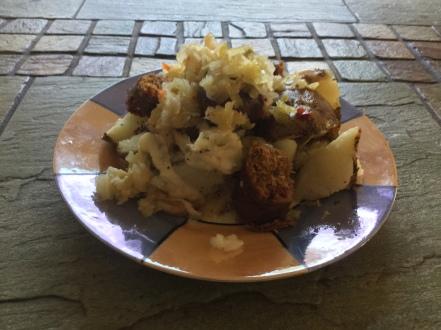 potato, fake sausage, kraut