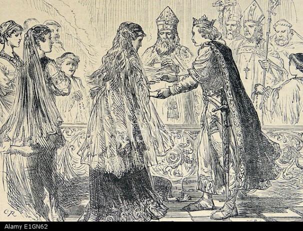 Marriage of Henry I of England (1068-1135) to Princess (Eadgyth) Matilda of Scotland. Engraving c1880.