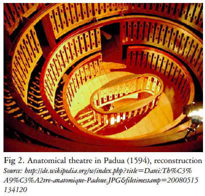 Anatomical theater in Padua 1594