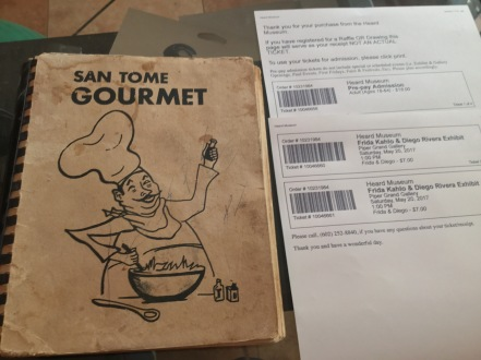 vintage cookbook and tickets