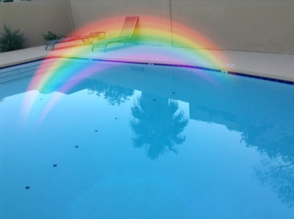 pool with rainbow